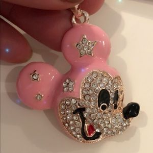 Pink enameled mickey mouse pendant